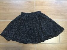 Quirky Circus Black Chiffon Short Flippy Skirt Brown Spotted Dot Size 8