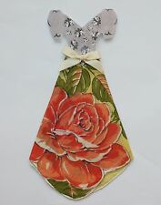 Vintage Hanky Handkerchief  Dress Decorative Accent with Peach Flower  - Gift