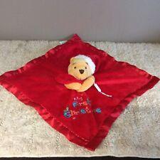 Bnwot  Disney 'My First Christmas 'Bear Comforter Soother Blankie Hug Toy Cute