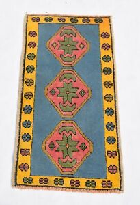Blue and Yellow Color Vintage 2 by 3 feet, Area Rug, 100% Hand-knotted Door Mat