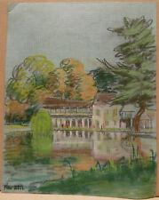 """Dessin original Gouache PIERRE SUBTIL """" Paysage. Versailles """"  PS124"""