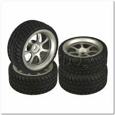 4x RC1:10 On-Road Car 62mm OD Plastic Drift Tire + Grey Alloy 7-Spoke Wheel Rim
