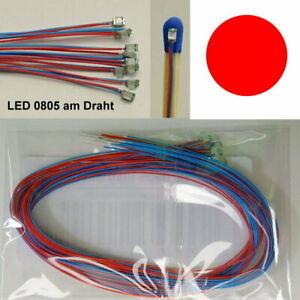 10 Stück SMD LED 0805 Rot verdrahtet mit Kabel am Draht Microkabel B13/5