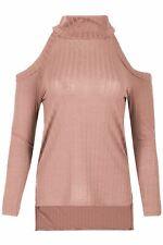 Ladies Womens Rib Knit Frill Polo Turtle High Neck Long Sleeve Hi Lo T Shirt Top