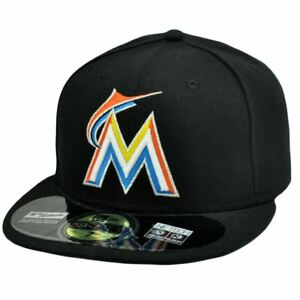 MLB Miami Marlins New Era 59Fifty 5950 Fitted Hat Cap Black On Field 6 7/8