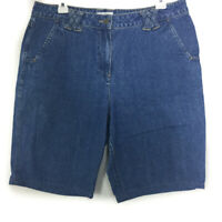 CHRISTOPHER & BANKS Women's Blue Bermuda Walking High Waist Jean Shorts 12 34x9