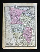 1888 Mitchell Map United States Illinois Missouri Minnesota Wisconsin Iowa US
