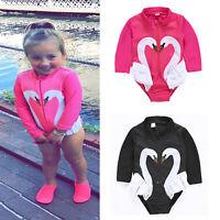 Kids Girls Swan Swimwear Zip Up Long Sleeve Swimsuit One-piece Swimming Costume