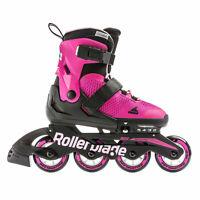 Rollerblade USA Microblade Girls Adjustable Fitness Inline Skate, Size 5, Pink
