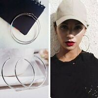 Women Girls Fashion Silver Smooth Big Round Hoop Earrings Fashion Jewelry Gift