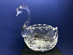 Vintage Clear Cut Glass Swan Trinket Dish or Votive Candle Holder