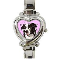 BORDER COLLIE DOG Puppy LADIES WOMENS HEART WATCH 96416519
