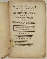 CHIARIZIA LAMENTI DELLE VEDOVE RIMOSTRANZE CHIESE VACANTI REGNO DI NAPOLI 1784