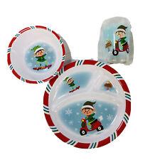 Christmas Santa's Elves Child's Dinnerware Divided Plate Bowl & Mug Set Melamine
