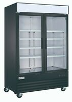 VORTEX Commercial 2 Glass Door Merchandiser Freezer in Black - 45 Cu. Ft.