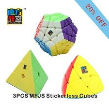 3PC Magic Speed Cubes Mastermorphix Pyramid Megaminx Stickerless Cube Turn Quick