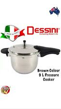 Dessini 9 Liter Pressure Cooker 18/8 Stainless Steel Brown Colour..