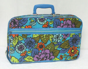Vintage 60s 70s Bantam Travelware Floral Mod Hippie Luggage Bag Suitcase w/ KEY