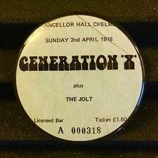 "GENERATION X Concert Ticket Stub Pin Button Badge 2.25"" Punk Rock Pinback 1978"