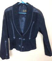 Vintage Scully Black Jacket Western Suede Genuine Leather Rodeo Biker Size 8