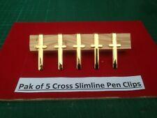 1, Pack of 5 Cross Pen Clips in Gold for Slimline Type Pens