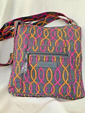 Vera Bradley Purse, Grayish Brown w Pink & Orange Design, Shoulder Strap, NWOT