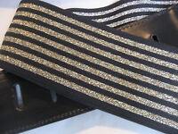 UNIQUE BLACK LEATHER WITH BLACK/GOLD ELASTIC GUITAR/BASS STRAP