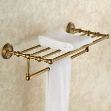 Antique Brass Wall Mounted Bathroom Bath Towel Rail Holder Storage Rack Shelf