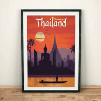 THAILAND VINTAGE Retro TRAVEL Poster Art Print A4 SIZE Glossy Gift