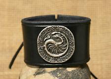 Armband Damen Drache Zierniete Leder schwarz B 4cm Kelten Viking silber