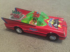 Tin Toy Red Litho 1966 TV Batmobile George Barris Batman Battery operated Taiwan