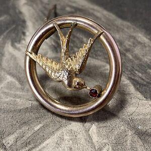 Victorian 9ct Gold Bird Brooch, Swallow in flight Antique Circular Garnet Pin