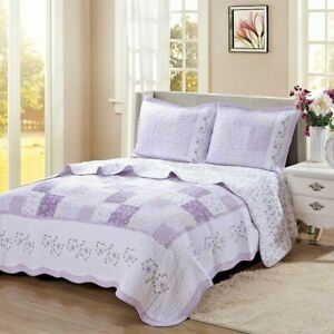 Love of Lilac Real Patchwork 100%Cotton Quilt Set, Bedspread, Coverlet