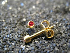 2mm JULY / RUBY Birthstones PIERCING Studs Earrings GOLD - STERILIZED - USA Made