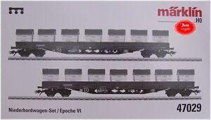 Märklin 47029 Niederbordwagen-Set 2-teilig #NEU in OVP#