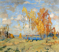 Oil painting impressionism autumn landscape with yellow trees free shipping cost