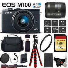 Canon EOS M100 Mirrorless Digital Camera (Black) +15-45mm Lensxible Tripod + UV