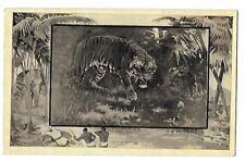 1909 Mintz Postcard ~ Teddy Roosevelt's Wilds of Africa Series ~ TIGER & COBRA