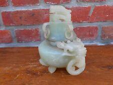 Chinese carved stone incense burner. Brûle parfum. Pôt couvert