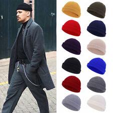Mens Mini Short Fisherman Beanie Hat Winter Ribbed Docker Warm Knitted Skull Cap
