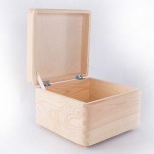 Perfect Wooden Box For Decoupage Craft / Unpainted Plain Decor Pine 20x20x14cm