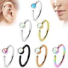 Nasenring Septum Ring Piercing Nasenpiercing Tragus Helix Ohr Stecker Opal