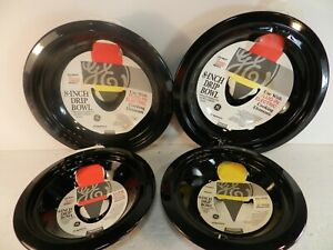 """4 Drip Pans Replacement GE Hotpoint Kenmore Electric Stove 6"""" 8"""" Burner Bowls"""