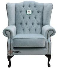 Chesterfield Mallory Queen Anne Flat Wing High Back Velluto Duck Egg Blue Fabric