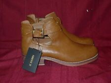 FOREVER 21 LIGHT BROWN ANKLE BOOTS WITH BUCKLES...Size 7.5 NEW..VEGAN