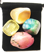 STOMACH ULCERS Tumbled Crystal Healing Set =4 Stones +Pouch +Description Card