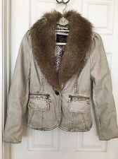 NWT New Guess Faux Leather Blazer Jacket Removeable Fur Trim S $139 Stone Khaki