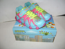 NIB Stride Rite Leepz Light Up Sneaker Kid Girls Shoes sz 8.5 W Blue Citron Pink