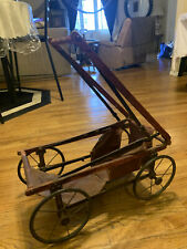 Over 100 years old Antique Baby Doll Stroller Vintage Wooden Carriage