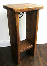 74CM SOLID RECYCLED PLANK WOOD FARMHOUSE LAMP TABLE / TELEPHONE TABLE
